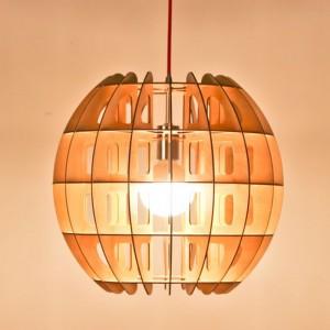 Đèn gỗ thả trần hình quả cầu
